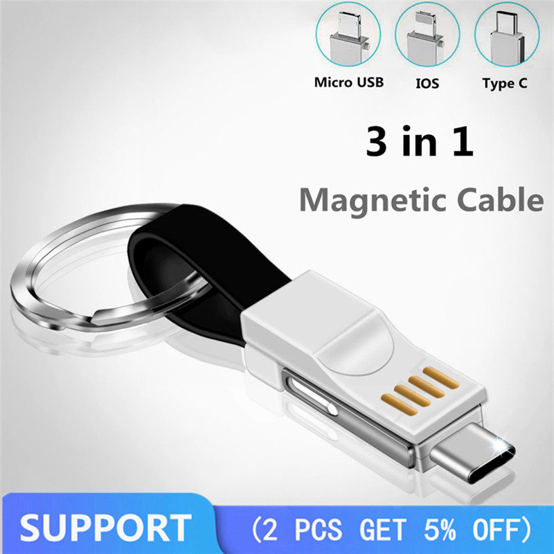 Mobile Phone Chargers Well-Educated Portable Magnetic Usb Cable 3 In 1 For Iphone/type C/micro Usb Mini Keychain Charge Cable Quick Charge Phone Sync Data Cord Wire