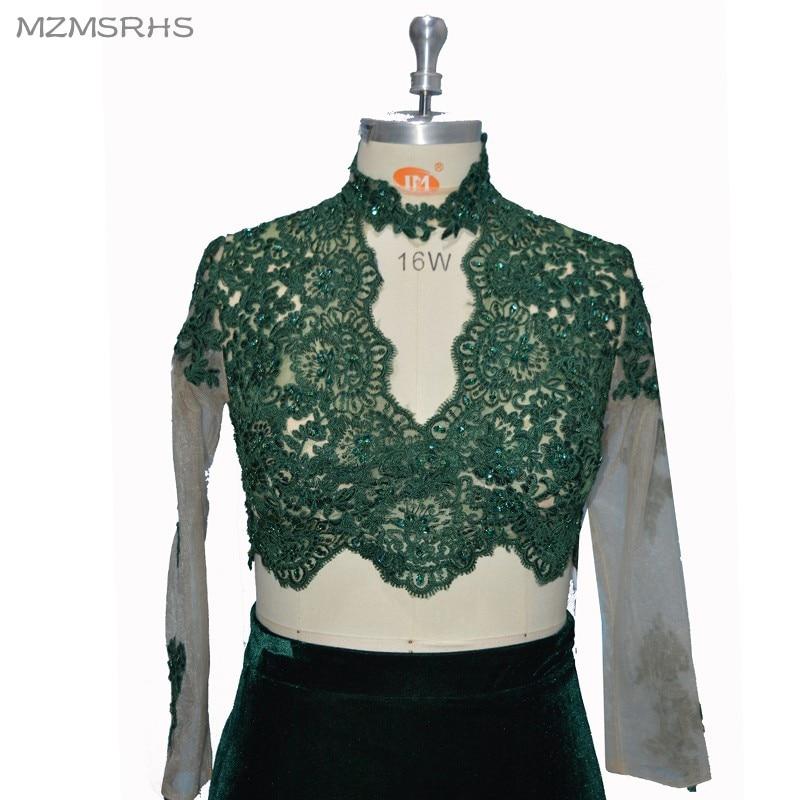 MZMSRHS Dy pjesë të rrobave prom me mëngë të gjata me aplikime - Fustane për raste të veçanta - Foto 4