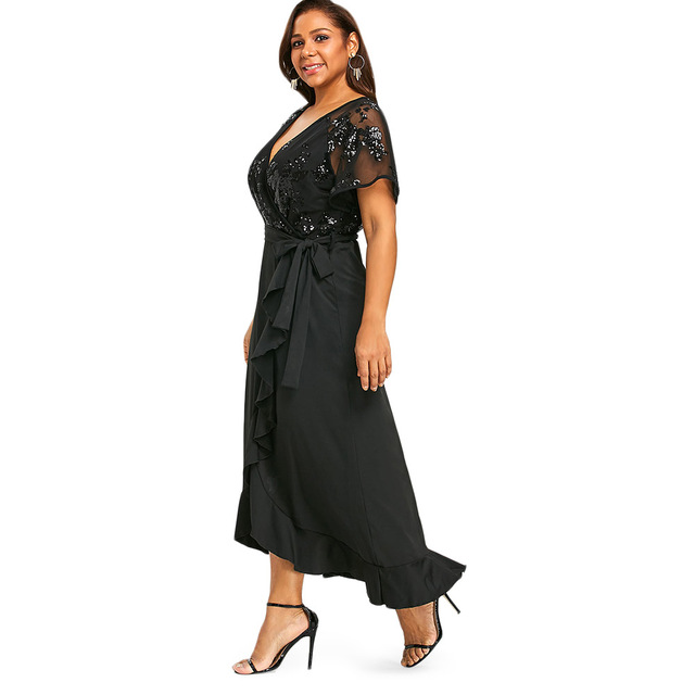 Gamiss Plus Size Sequins Belted Maxi Dress 2018 Women Summer Dresses Short  Sleeve V-Neck Elegant High Waist Party Dress 5XL free shipping worldwide 6a5378cfb4f8