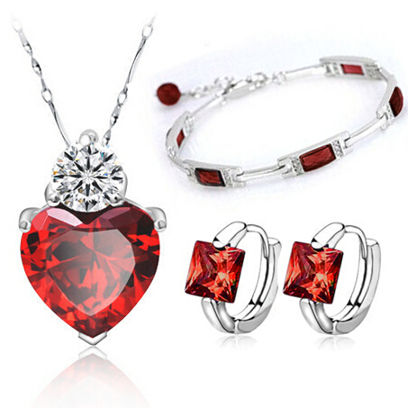 Red Jewelry Sets Sterling Silver Trio Set Nekclace Earring Bracelet Silver 925 Christmas Gift Free Shipping