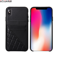 Aluminum Metal Volume Button Stitching Genuine Leather Case For Apple iPhone XS X XS MAX Luxury Card Holder Slot Back Cover Case