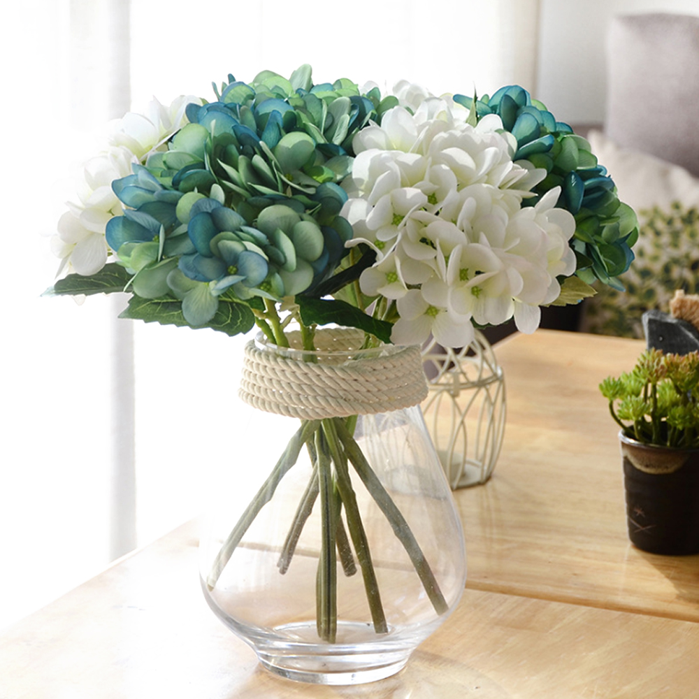 Artificial hydrangea silk flower diy decorative flower artificial hydrangea silk flower diy decorative flower bouquet diy wedding party birthday living room decoration bride bouquet izmirmasajfo Gallery