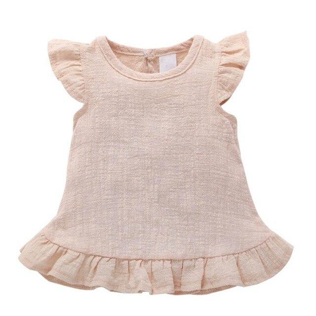 caa558d518 WEIXINBUY Vestido Da Menina Do Bebê Roupas de Bebê Top Camisa de Linho de  Algodão Baby