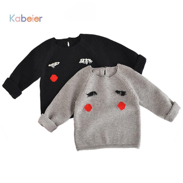 Nuevo 2016 Otoño Suéter de la Muchacha Niños Boutique Del Bebé Suéteres de Punto Suave lana de Dibujos Animados Ojo Camiseta Infantil 1-4 T Niñas Ropa Boy