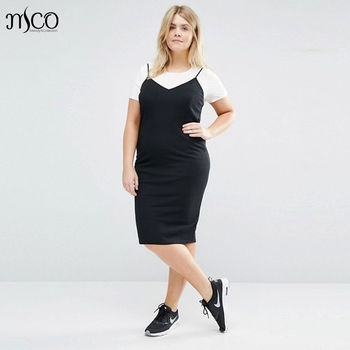 Basic Plus Size Solid Bodycon Dress Classic V Neck Sleeveless Spatatti  Strap Black Pencil Dresses Sexy 3feadaa0c186