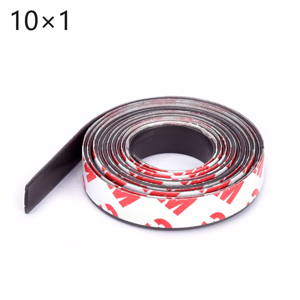 Free Shipping 1Meters self Adhesive Flexible Magnetic Strip 1M Rubber Magnet Tape width 10mm thickness 1mm