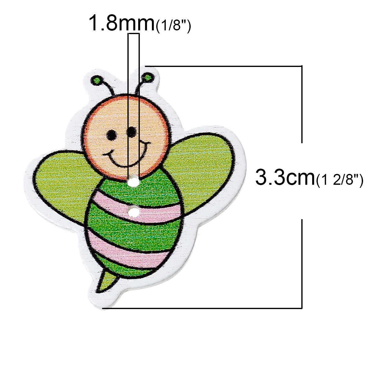 """Ahşap dikiş düğme Scrapbooking arılar karışık iki delik 3.3cm (1 2/8 """") x 3cm (1 1/8 """"), 6 adet yeni"""