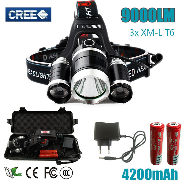 3 T6 9000LM 3x  cree XM-L T6 Headlight box 9000 Lumen Head Lamp Flashlight Torch Lanterna Headlamp for batteries and charger