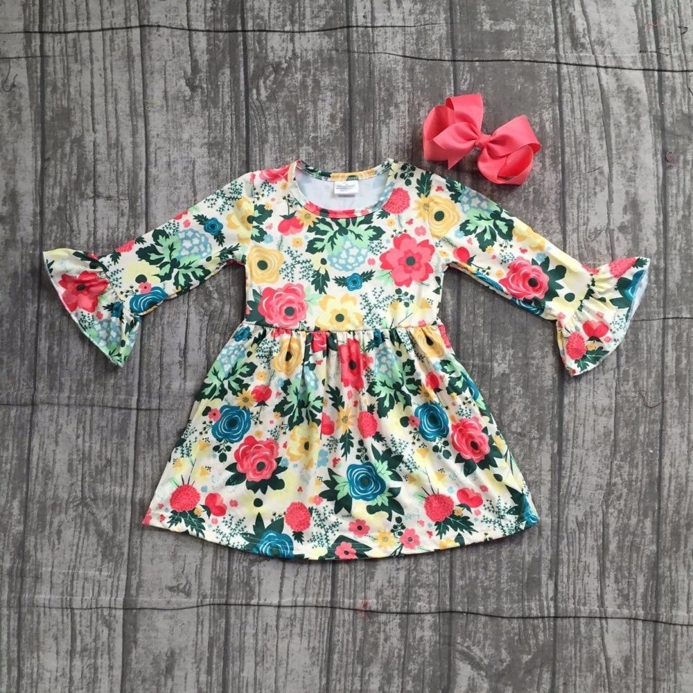 baby girls Fall Autumn dress clothing girls coral floral dress children girls boutique soft milksilk yellow dress with bows