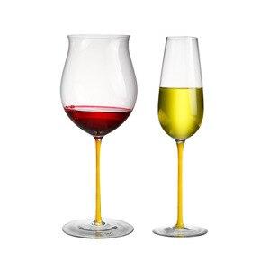 Copo de vinho tinto taça de vidro transparente cristal cor Europeus e Americanos grande borgonha copo de vinho tinto copo de champanhe 2 varas