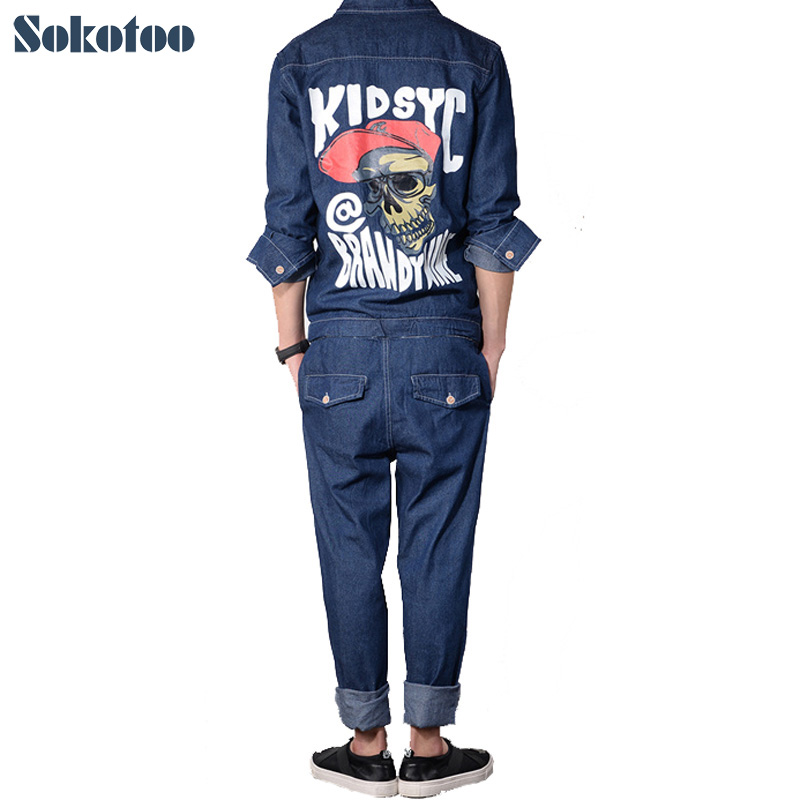 Sokotoo Men's Fashion Skull Pattern Print Detachable Overalls Black Blue Full Sleeve Denim Jumpsuits Jeans Set