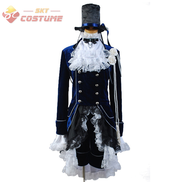 Anime Black Butler Cosplay Costume Ciel phantomhive Dark Blue Dress Cosplay  Costume Hat Shirt Outfit Coat