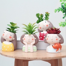 1PC Cartoon Girl Flowerpot Home Garden Mini Bonsai Cactus Planter Pots Succulent Plant Flower Pot Wedding Birthday Gift Ideas