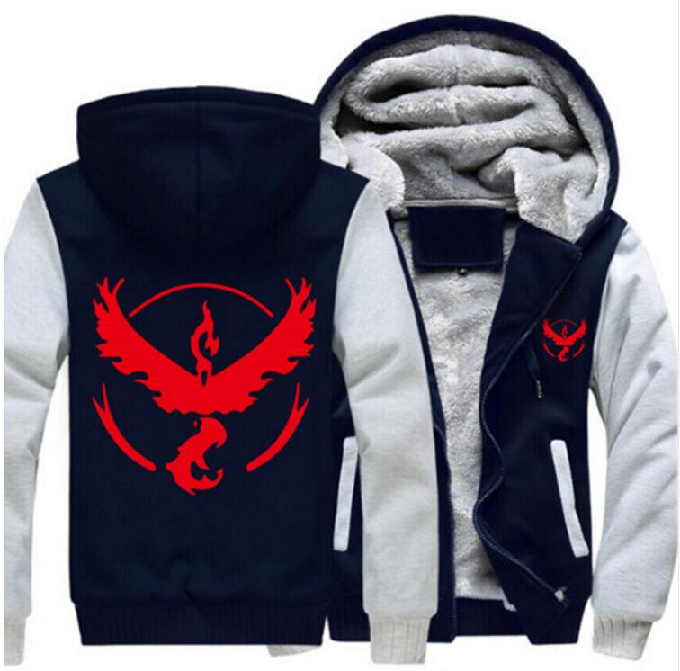 USA SIZE Men Hoodies Pokemon Go Team Valor Team Mystic Team Instinct Winter Fleece Sweatershirts Zipper Thicken Coat Jacket 2