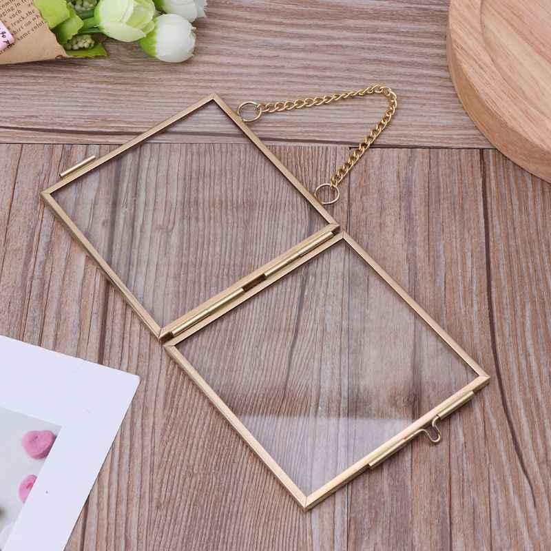 DIY chain retro metal photo frame high transparent glass gold chain hanging photo frame picture frame specimen folder