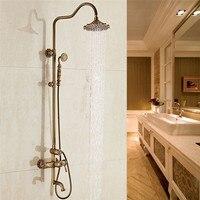 Bathroom Shower Faucets Set Antique Brass Carved Bathtub Shower Mixer Tap Bath Shower Taps Rainfall Shower Head Wall Torneiras