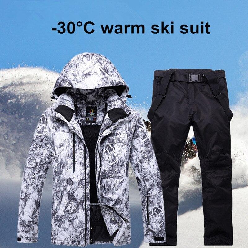 2018 Nouveau Hommes combinaison de Ski Super Chaud et Imperméable Coupe-Vent Snowboard Veste D'hiver pantalon de neige Costumes Mâle Ski Snowboard Ensembles