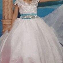 Платья с цветочным узором для девочек; платье без рукавов с поясом из бисера для маленьких девочек; пышные платья для первого причастия