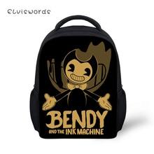 ELVISWORDS Kids Cartoon Backpacks School Bags Boys Girls Mini Bendy and the Ink Machine Prints Student Bookbags Mochila