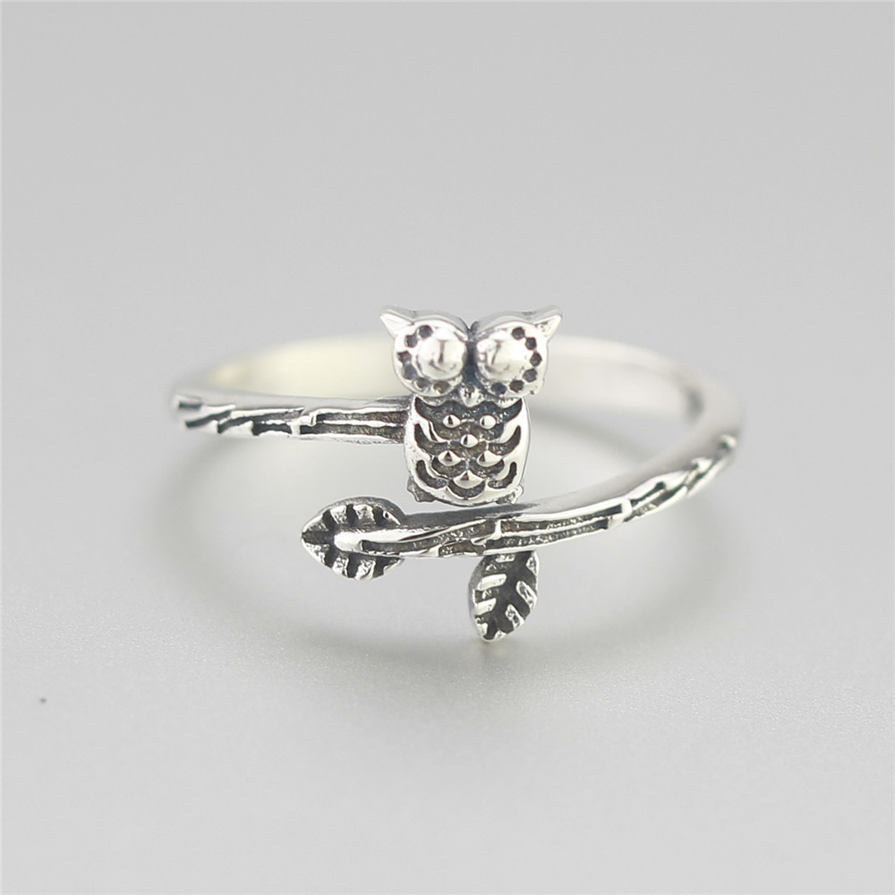 Flyleaf 925 Sterling Silver Tree Branches Owl Opens Rings For Women Vintage  High Quality Girl Gift
