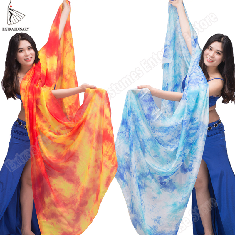 New 100% Veils Light Silk Belly Dance Hand Thrown Scarf Shawl Veil Silk 200cm 250cm 270cm Kids Adults Stage Performance 13 Color