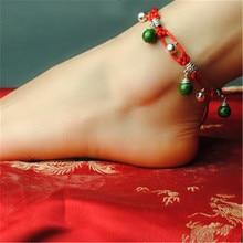 Women anklets wholesale 2016 new accessories DIY hot sell bell retro foot rope jewelry bracelet cheville enkelbandje gift T024