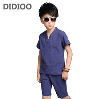 Teenage Boys Outfits Cotton Linen Clothing Sets For Boys T Shirts Shorts Summer Kids Clothes 4