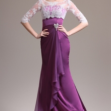 Popular Contrast Color Long Formal Women's Dress Mermaid Half Sleeve Mo