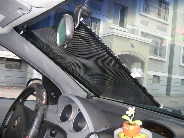 125*50cm Retractable Car Auto Sunshade Car Rear Window Solar Protection Sunscreen PVC + Metal Rod Car Rear Back Windshield