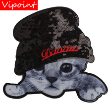 embroidery hats cats patches for jackets,cats badges jeans,animal appliques coats A250