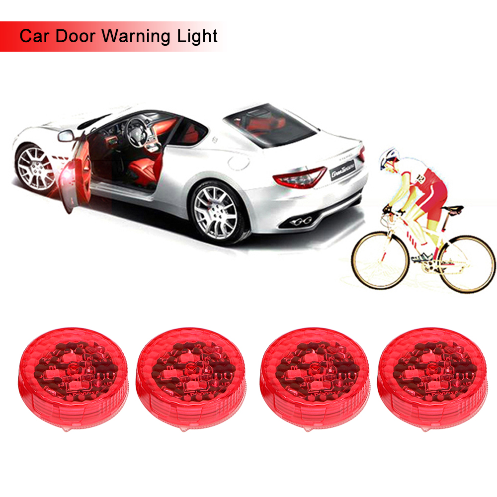 4pcs Car Door Lights LED Warning Lamp Signal Lamp Anti Collision Magnetic Flashing Auto Strobe Traffic Light Safety Car-styling 1x solar energy led car auto sticker flash warning light taillights magnetic white shark gills fog lamp safety car styling
