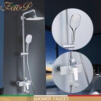 FAOP shower faucet wall mounted shower set waterfall rainfall shower heads brass shower panel bathroom faucets