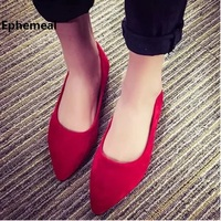 Ladies Winter Autumn Flock Shoes Black Red Shallow Mouth Loafers Comfortable Slip Ons Plus Size 45