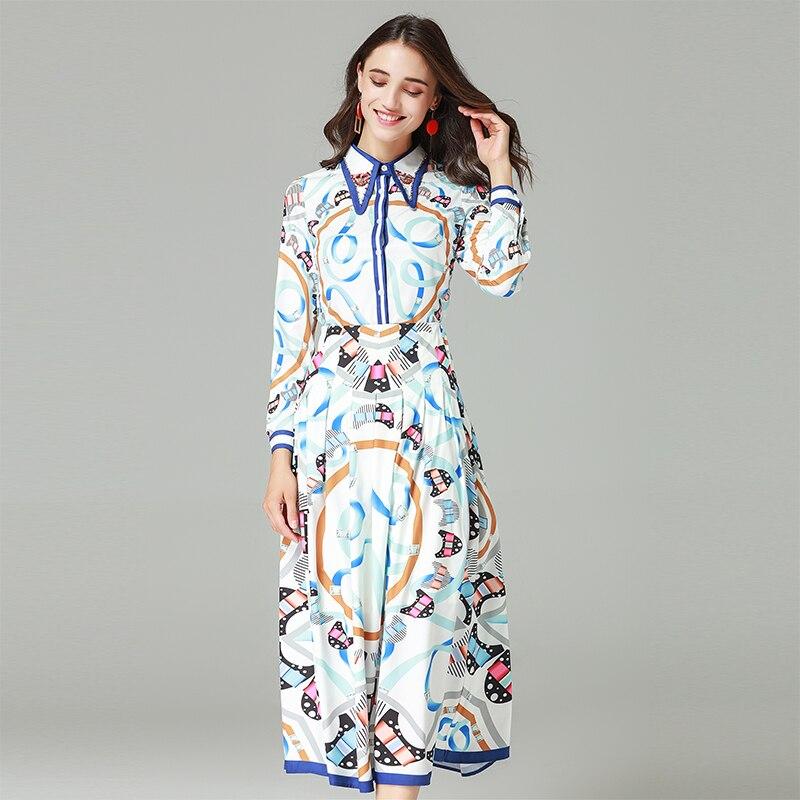 Automne Mince Pièces Assez Ensembles Femmes Collar Mignon Turn Shirts Costumes Haute Complet Manches down Jupes 2 Femelle Qualité Imprimer Rr1wxqR5a