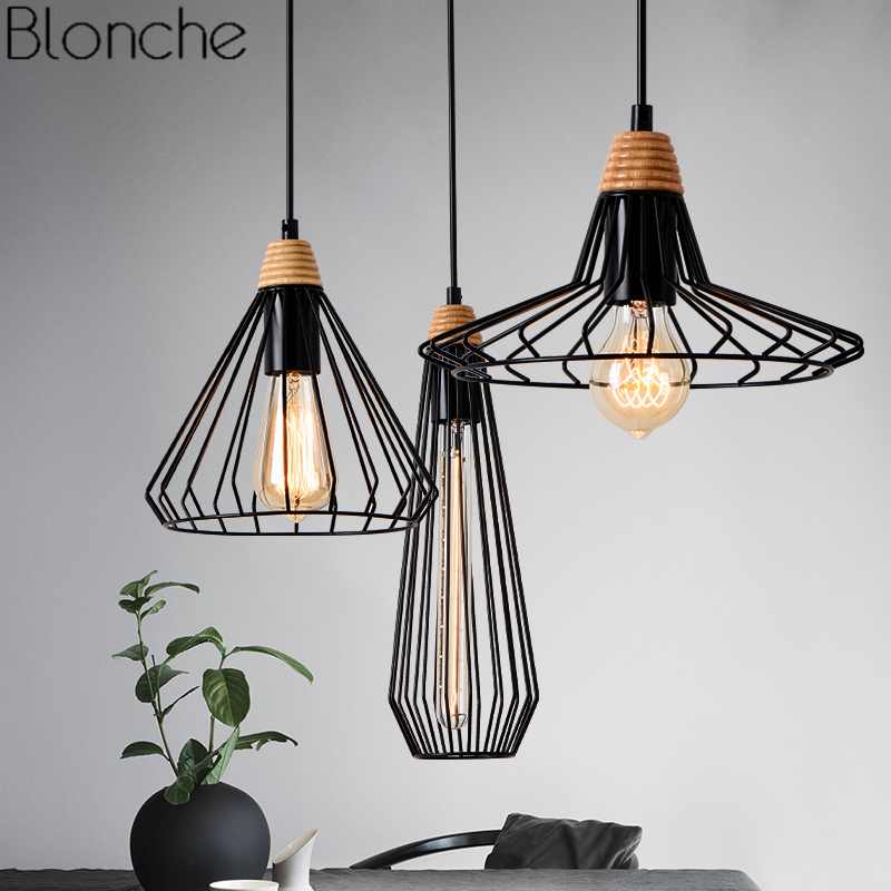 Cage Vintage Pendant Lights American Loft Industrial Wood Hanging Lamp Dining Room Bedroom Home Decor Led Lighting Fixtures E27 modern foscarini spokes 1 2 pendant lights led hanging lamp industrial cage suspension home decor living room lighting fixtures