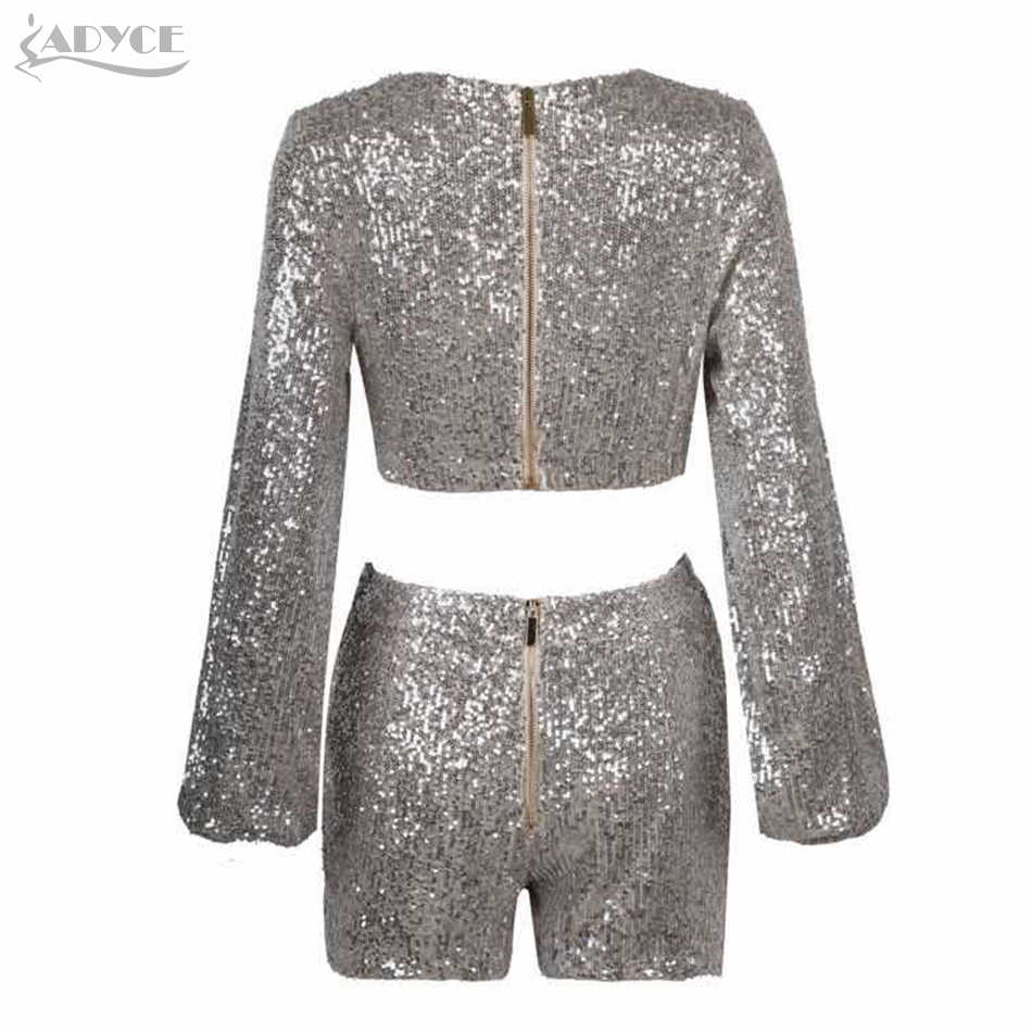 Adyce 2019 New Autumn Women Party Sets Tops&Pant 2 Two Pieces Sequin Long Sleeve Celebrity Evening Party Women Club Set Vestidos