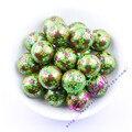 Free Shipping 20MM 100Pcs/Lot Print Flower On Green Pearl Bead For Kids Chunky DIY Handmade Jewelry Accessory #CDBD-601395