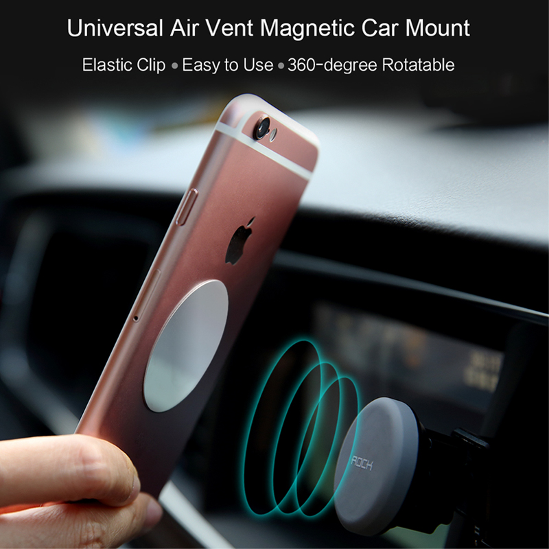 ROCK Magnet Car Phone Holder Air Vent Outlet Rotatable Mount Magnetic Phone Mobile Holder Universal For iphone Samsung stand
