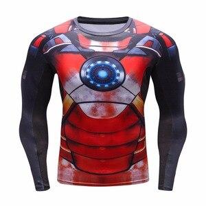 Image 3 - Мужская компрессионная рубашка, сезон осень зима 2016, дышащая сетчатая одежда для фитнеса, брендовая одежда для мужчин, быстросохнущая 3d рубашка для мужчин