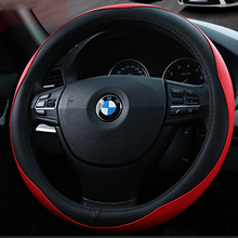 KKYSYELVA Leather Car steering wheel cover 38cm Wheel Covers Auto Steering-wheel covers Interior Accessories
