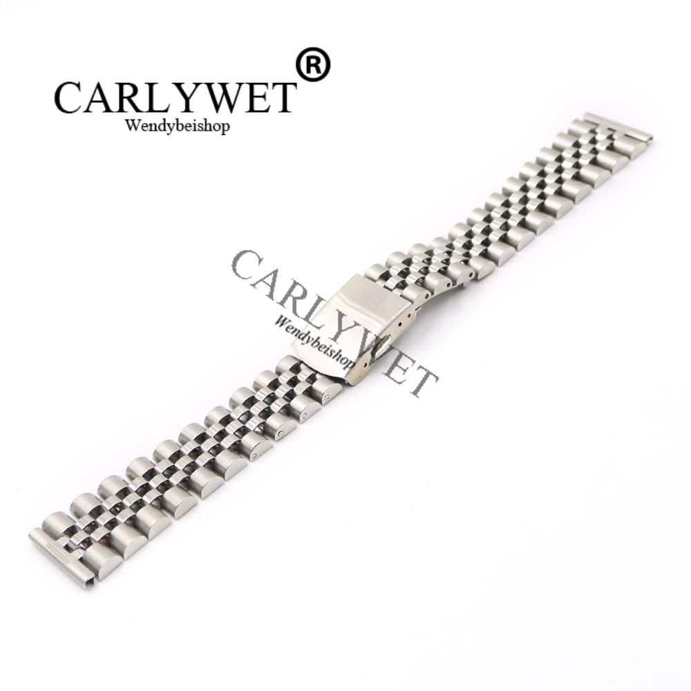 CARLYWET 20mm Silver Wholesale 316L Stainless Steel Replacement Wrist Watch Band Strap Bracelet With Double Push Clasp eache silicone watch band strap replacement watch band can fit for swatch 17mm 19mm men women