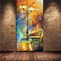 Free Shipping Handpainted Wall Art Abstract Painting Rain Tree Road Canvas Colorful Palette Knife Oil Painting