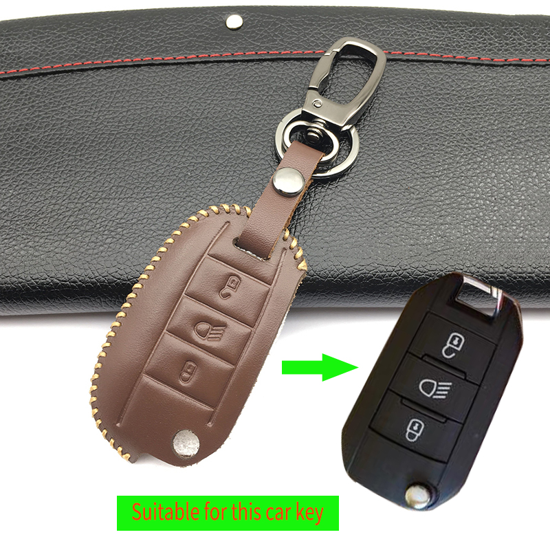 Leather Car <font><b>Key</b></font> Shell Case <font><b>Cover</b></font> for Citroen C4L C5 C3 CACTUS C6 C8 Xsara Picasso for <font><b>Peugeot</b></font> <font><b>3008</b></font> 308 508 408 2008 RCZ <font><b>key</b></font> bag image