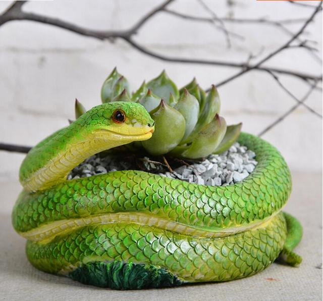 small creative planter pot green snake shaped flower pots ...