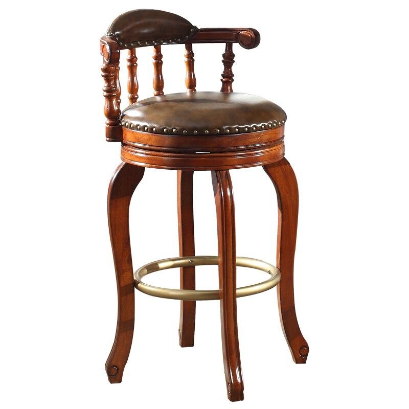 Bar counter European style solid wood high stool Modern minimalist rotating bar chairs American bar chairs