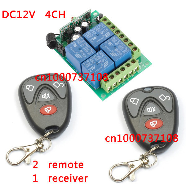 DC12V 4CH Wireless Remote Switch Learning code Receiver and Transmitter Home Automation Kit dc12v 4ch wireless receiver