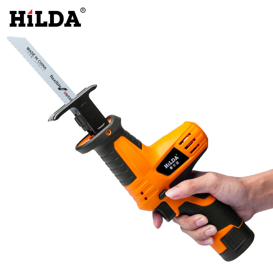 HILDA 12V Cordless Reciprocating Saw Wood Cutting Saw Electric Saws With Saw Blades Woodworking Cutter