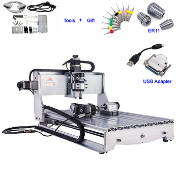 USB CNC Wood Router Engraver 6040 4 Axis PCB Milling Machine 4 axis cnc 6040 z s80 engraver router milling lathe machine with rotary axis and 1 5kw spindle four axis cnc6040 for 3d cnc