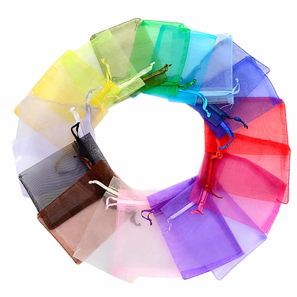 100 pz Monili Sacchetti di Organza Sacchetti di Imballaggio Decorazioni della Festa Nuziale Favori 24 Colors Sacchetto Dei Monili Regalo di Nozze pacchetto Portaoggetti