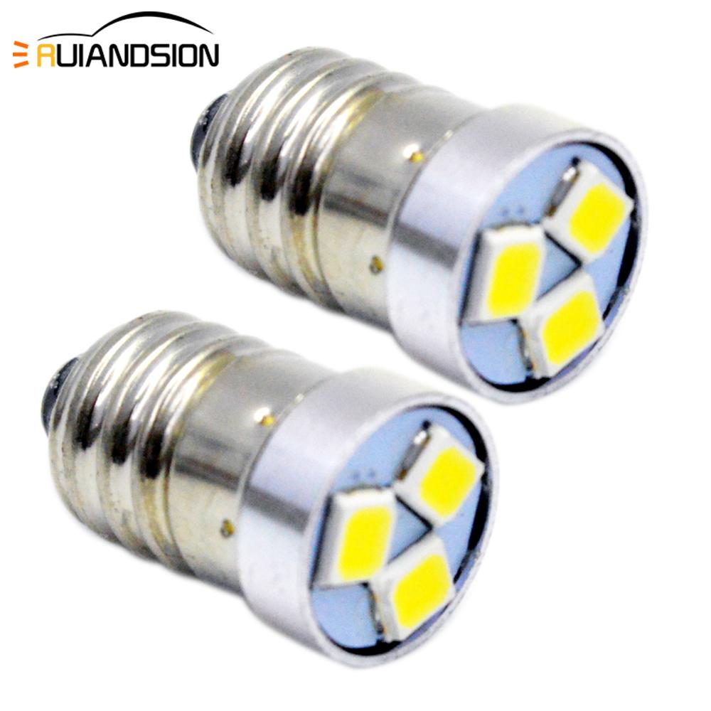2pcs 1.44W E10 LED Flashlight Bulb Lamp 3V 6V 12V Led Bulb Replacement Flashlight 3030 3smd Torch Bulb 3 Volt Screw Lighting